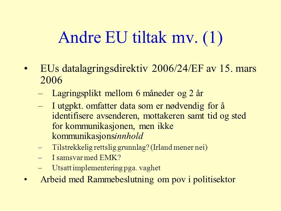 Andre EU tiltak mv. (1) EUs datalagringsdirektiv 2006/24/EF av 15.
