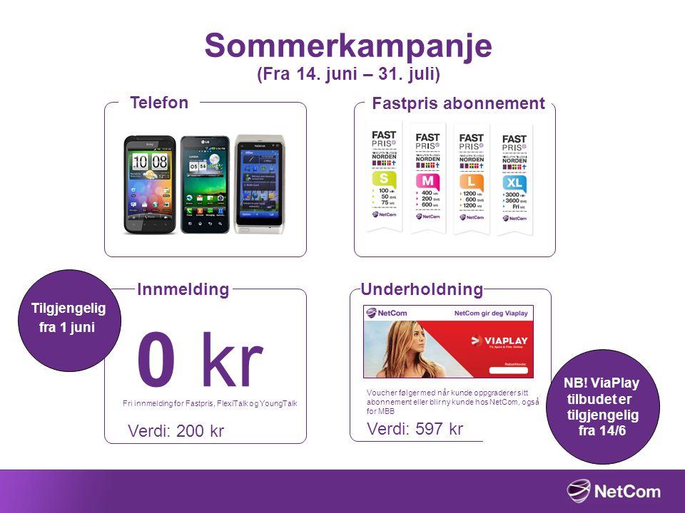 Sommerkampanje (Fra 14. juni – 31. juli) Telefon Innmelding 0 kr Verdi: 200 kr Fri innmelding for Fastpris, FlexiTalk og YoungTalk Fastpris abonnement