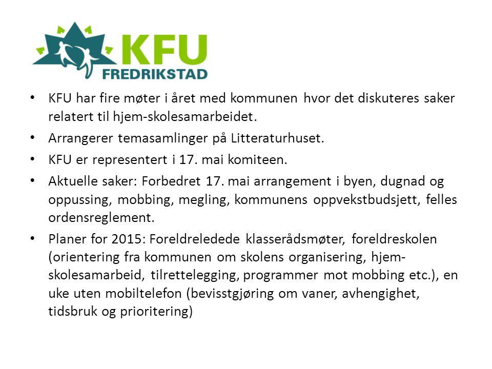 KFU har fire møter i året med kommunen hvor det diskuteres saker relatert til hjem-skolesamarbeidet. Arrangerer temasamlinger på Litteraturhuset. KFU