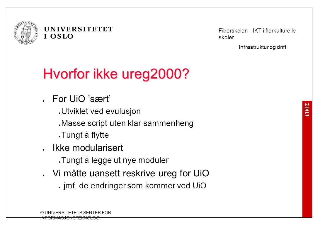 2003 © UNIVERSITETETS SENTER FOR INFORMASJONSTEKNOLOGI Fiberskolen – IKT i flerkulturelle skoler Infrastruktur og drift Hvorfor ikke ureg2000? For UiO