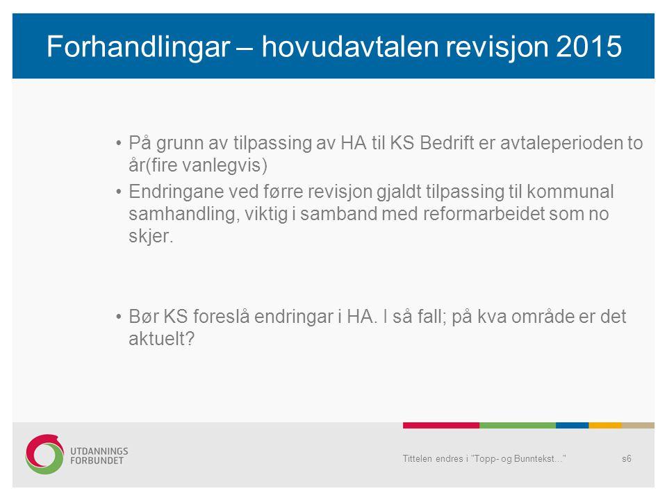 Forhandlingar – hovudavtalen revisjon 2015 På grunn av tilpassing av HA til KS Bedrift er avtaleperioden to år(fire vanlegvis) Endringane ved førre revisjon gjaldt tilpassing til kommunal samhandling, viktig i samband med reformarbeidet som no skjer.