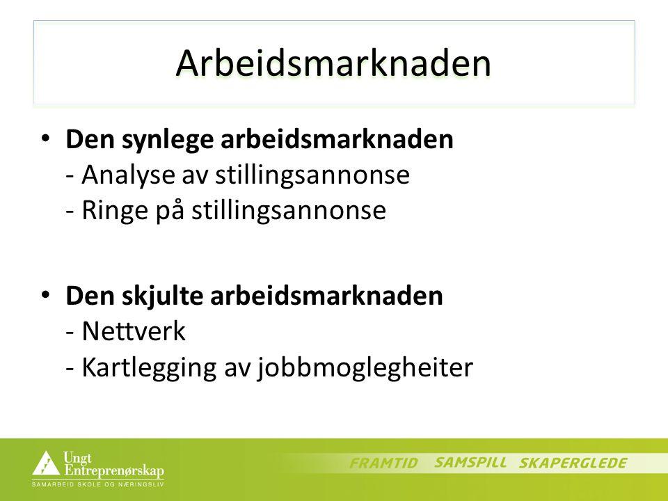 Arbeidsmarknaden Den synlege arbeidsmarknaden - Analyse av stillingsannonse - Ringe på stillingsannonse Den skjulte arbeidsmarknaden - Nettverk - Kartlegging av jobbmoglegheiter