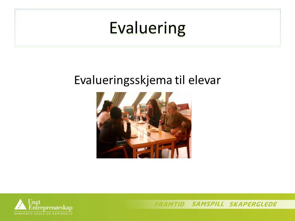Evaluering Evalueringsskjema til elevar