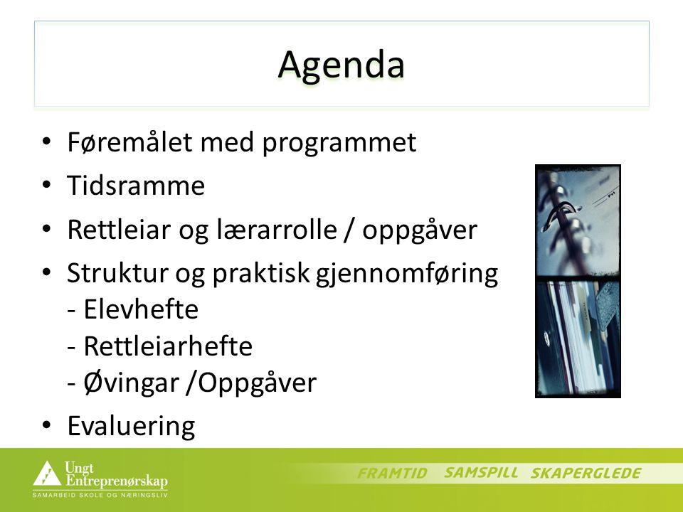 Agenda Føremålet med programmet Tidsramme Rettleiar og lærarrolle / oppgåver Struktur og praktisk gjennomføring - Elevhefte - Rettleiarhefte - Øvingar /Oppgåver Evaluering