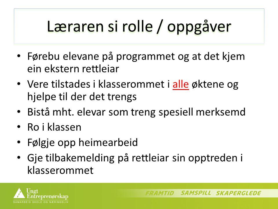 Læraren si rolle / oppgåver Førebu elevane på programmet og at det kjem ein ekstern rettleiar Vere tilstades i klasserommet i alle øktene og hjelpe til der det trengs Bistå mht.