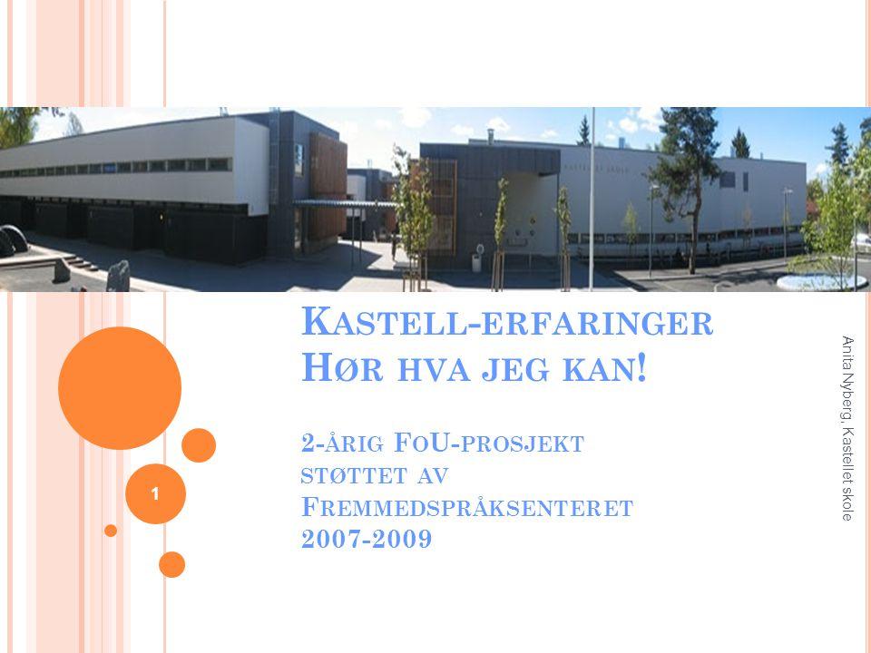 K ASTELL - ERFARINGER H ØR HVA JEG KAN ! 2- ÅRIG F O U- PROSJEKT STØTTET AV F REMMEDSPRÅKSENTERET 2007-2009 1 Anita Nyberg, Kastellet skole