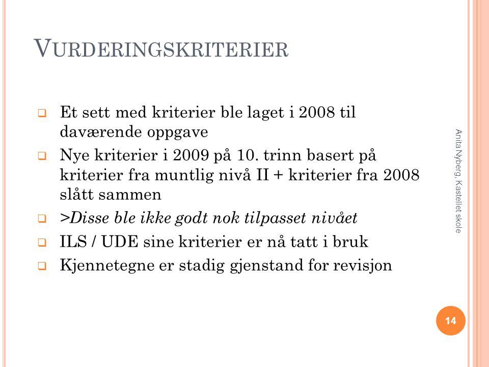 V URDERINGSKRITERIER  Et sett med kriterier ble laget i 2008 til daværende oppgave  Nye kriterier i 2009 på 10. trinn basert på kriterier fra muntli
