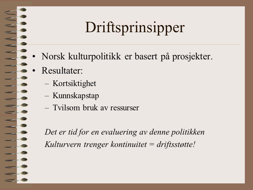 Driftsprinsipper Norsk kulturpolitikk er basert på prosjekter.
