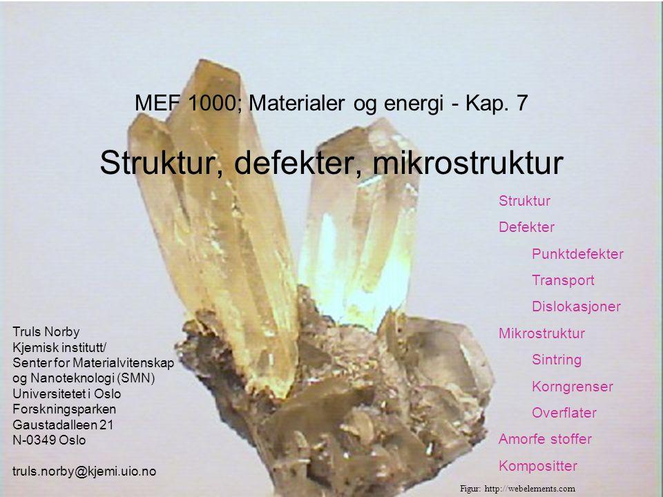 MEF 1000 – Materialer og energi Bestemmelse av struktur; diffraksjon Braggs lov: nλ = 2d sinθ Røntgenstråler (XRD) Elektronstråle (i TEM) Nøytroner (ND) Enkrystall vs pulver Röntgen Figurer: M.A.