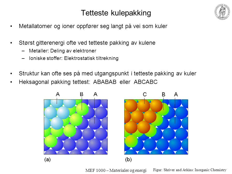 MEF 1000 – Materialer og energi Tetteste kulepakking Metallatomer og ioner oppfører seg langt på vei som kuler Størst gitterenergi ofte ved tetteste p