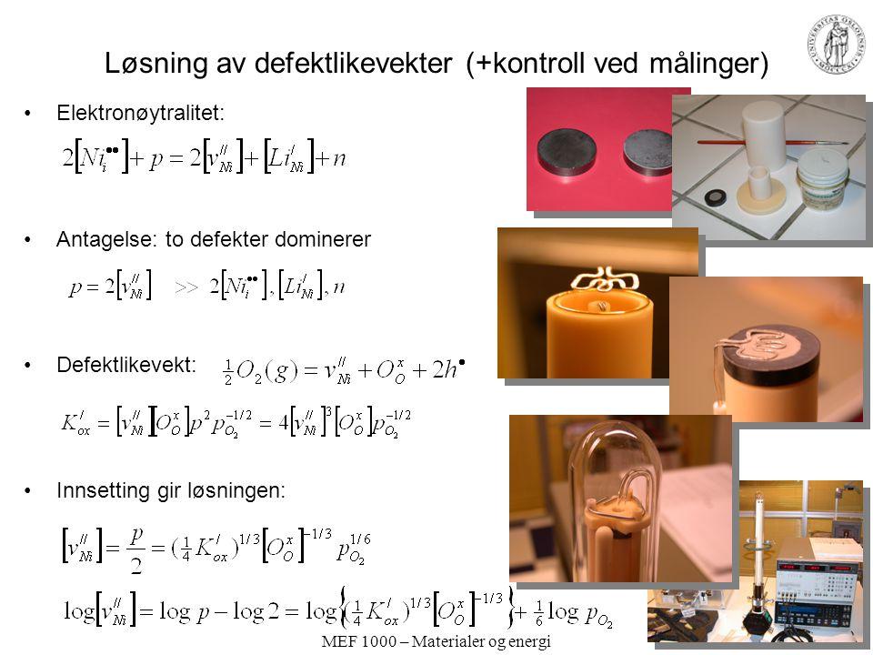 MEF 1000 – Materialer og energi Løsning av defektlikevekter (+kontroll ved målinger) Elektronøytralitet: Antagelse: to defekter dominerer Defektlikeve