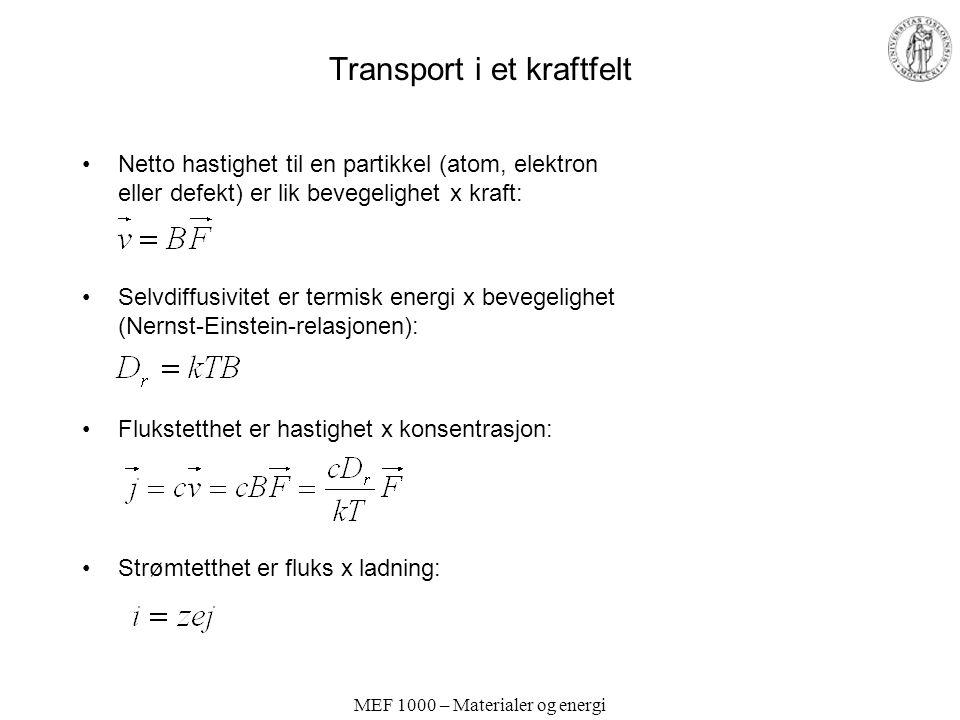 MEF 1000 – Materialer og energi Transport i et kraftfelt Netto hastighet til en partikkel (atom, elektron eller defekt) er lik bevegelighet x kraft: S