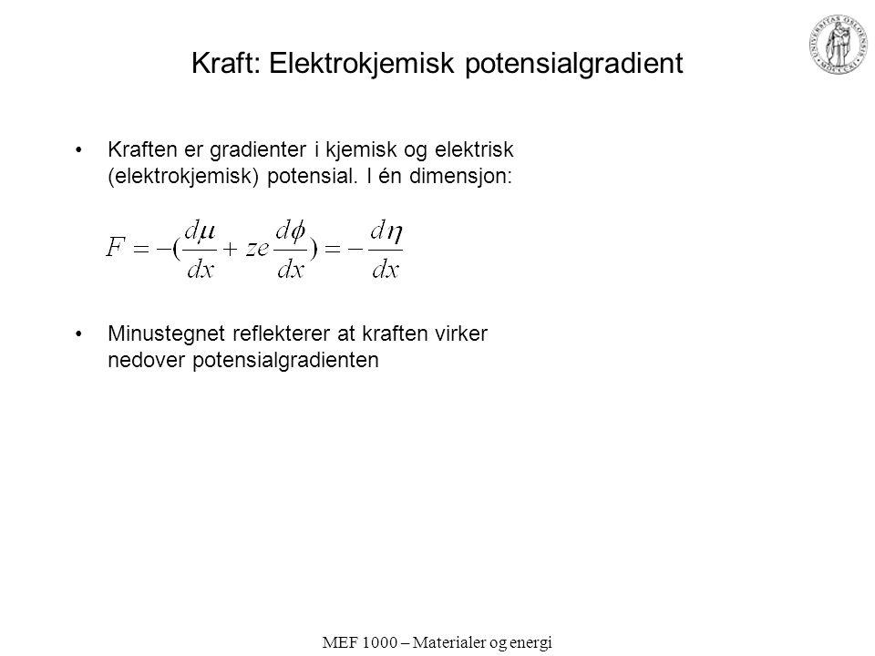 MEF 1000 – Materialer og energi Kraft: Elektrokjemisk potensialgradient Kraften er gradienter i kjemisk og elektrisk (elektrokjemisk) potensial. I én