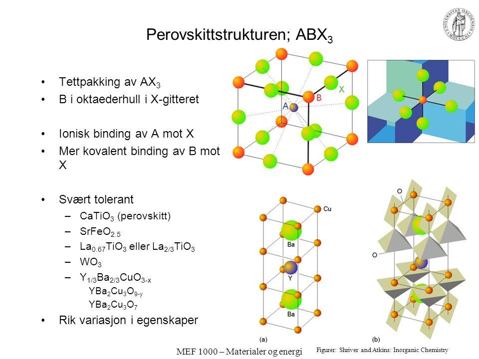 MEF 1000 – Materialer og energi Perovskittstrukturen; ABX 3 Tettpakking av AX 3 B i oktaederhull i X-gitteret Ionisk binding av A mot X Mer kovalent b
