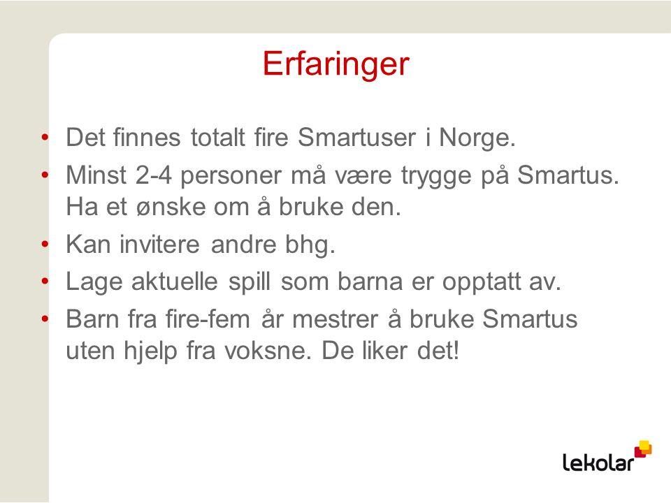 Erfaringer Det finnes totalt fire Smartuser i Norge. Minst 2-4 personer må være trygge på Smartus. Ha et ønske om å bruke den. Kan invitere andre bhg.