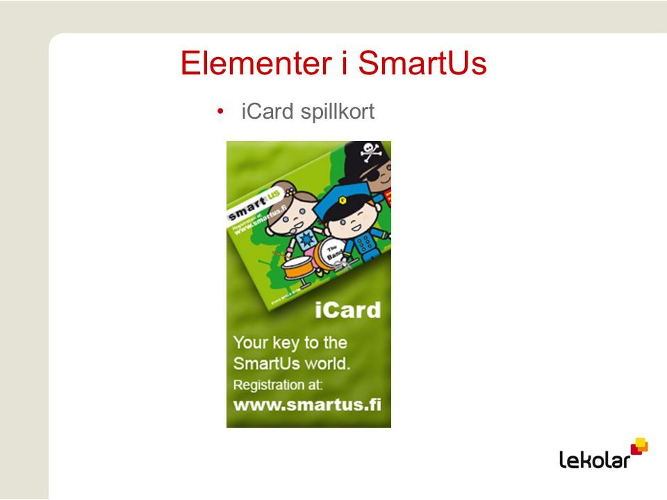 Elementer i SmartUs iCard spillkort