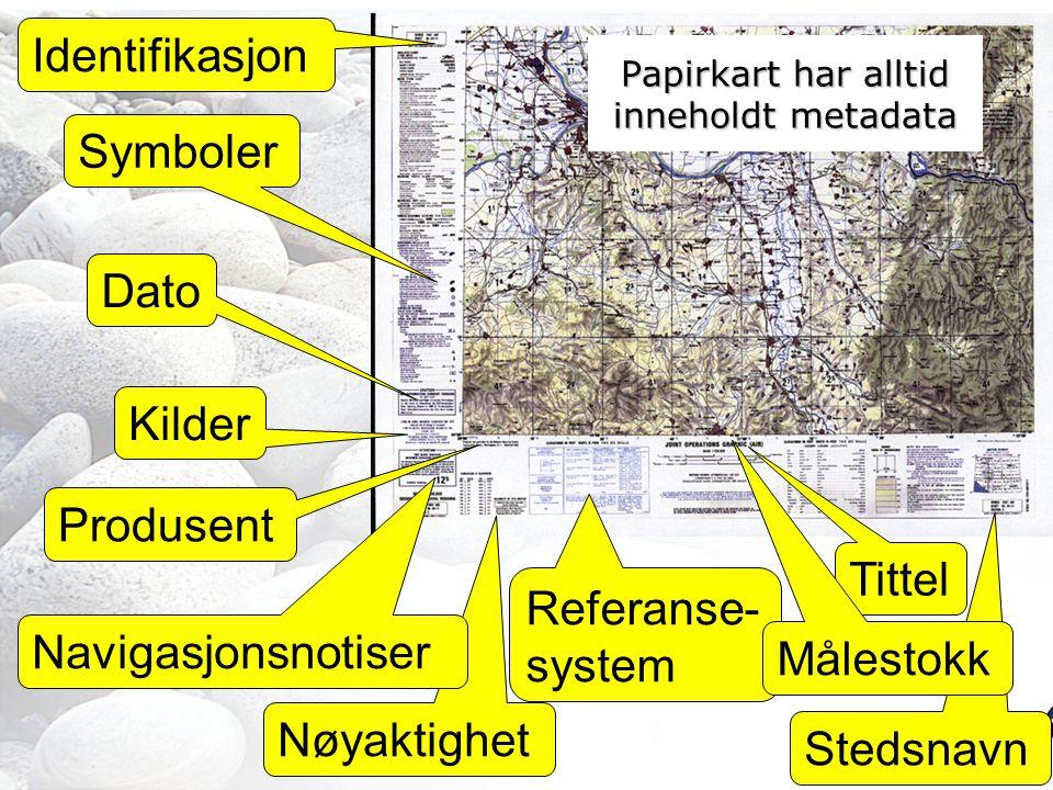 Tittel Symboler Identifikasjon Nøyaktighet Produsent Navigasjonsnotiser Referanse- system Kilder Stedsnavn Dato Papirkart har alltid inneholdt metadata Målestokk