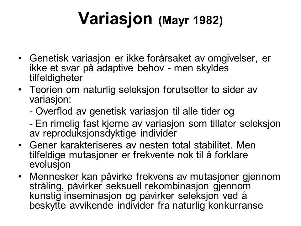 Variasjon (Mayr 1982) Genetisk variasjon er ikke forårsaket av omgivelser, er ikke et svar på adaptive behov - men skyldes tilfeldigheter Teorien om n