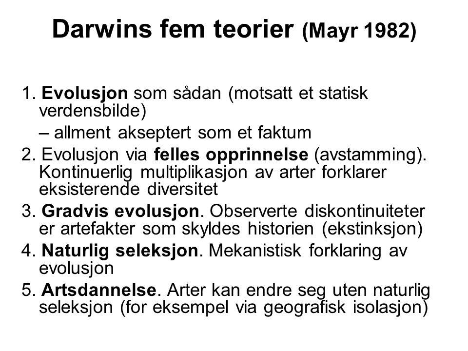 Darwins fem teorier (Mayr 1982) 1. Evolusjon som sådan (motsatt et statisk verdensbilde) – allment akseptert som et faktum 2. Evolusjon via felles opp