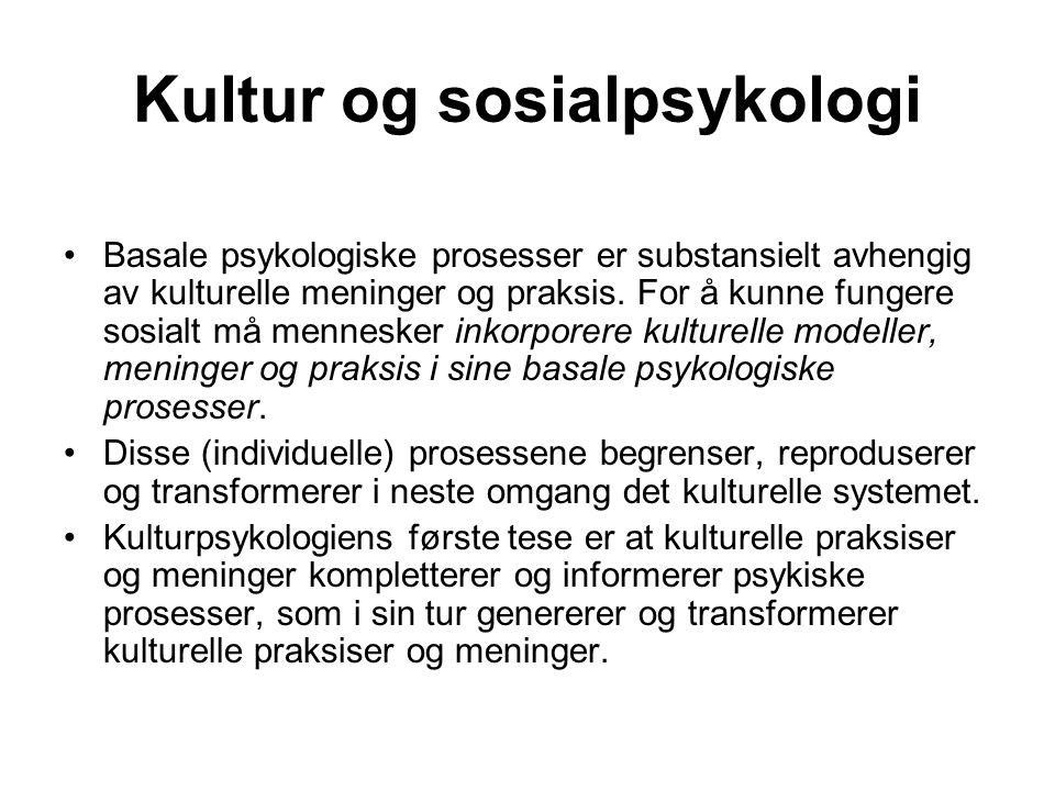 Kultur og sosialpsykologi Basale psykologiske prosesser er substansielt avhengig av kulturelle meninger og praksis. For å kunne fungere sosialt må men