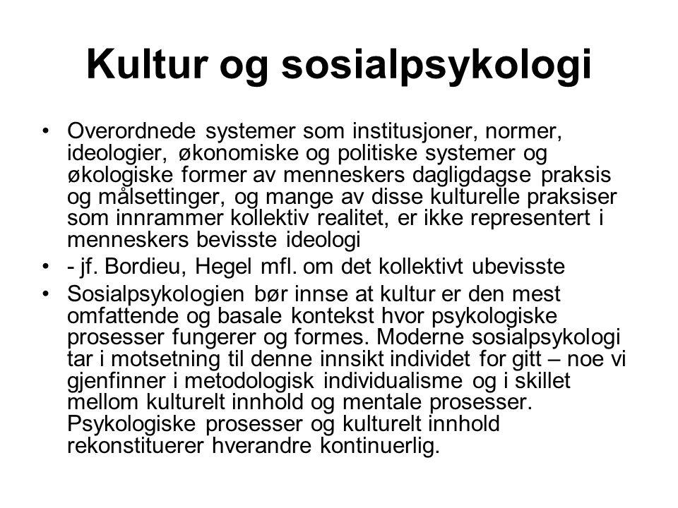 Kultur og sosialpsykologi Overordnede systemer som institusjoner, normer, ideologier, økonomiske og politiske systemer og økologiske former av mennesk