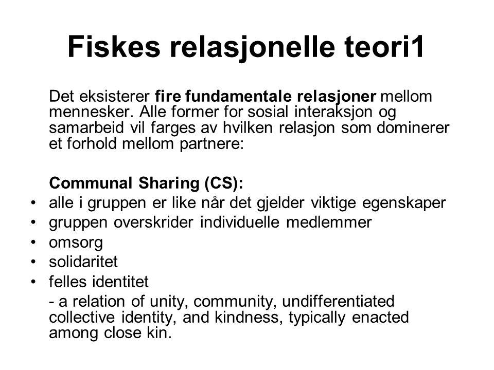 Fiskes relasjonelle teori1 Det eksisterer fire fundamentale relasjoner mellom mennesker. Alle former for sosial interaksjon og samarbeid vil farges av