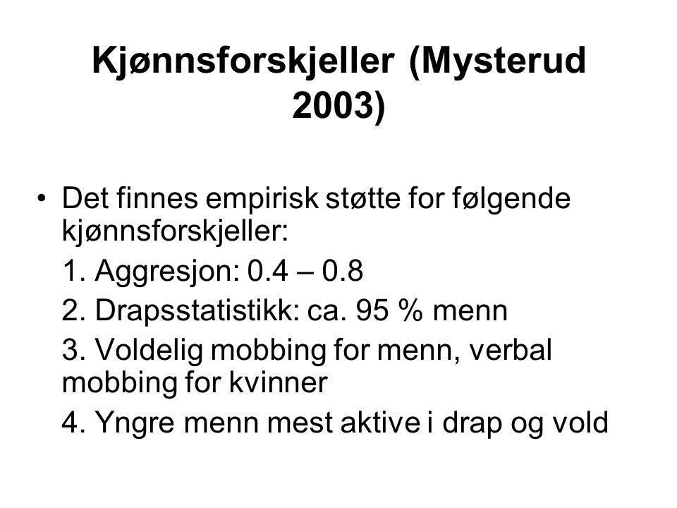 Kjønnsforskjeller (Mysterud 2003) Det finnes empirisk støtte for følgende kjønnsforskjeller: 1. Aggresjon: 0.4 – 0.8 2. Drapsstatistikk: ca. 95 % menn
