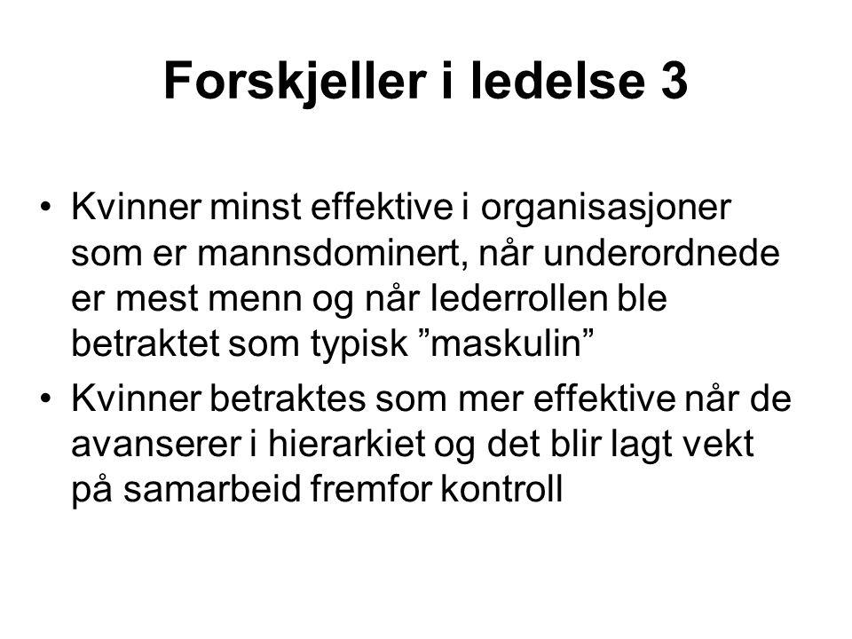 Forskjeller i ledelse 3 Kvinner minst effektive i organisasjoner som er mannsdominert, når underordnede er mest menn og når lederrollen ble betraktet