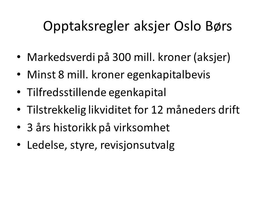 Opptaksregler aksjer Oslo Børs Markedsverdi på 300 mill. kroner (aksjer) Minst 8 mill. kroner egenkapitalbevis Tilfredsstillende egenkapital Tilstrekk