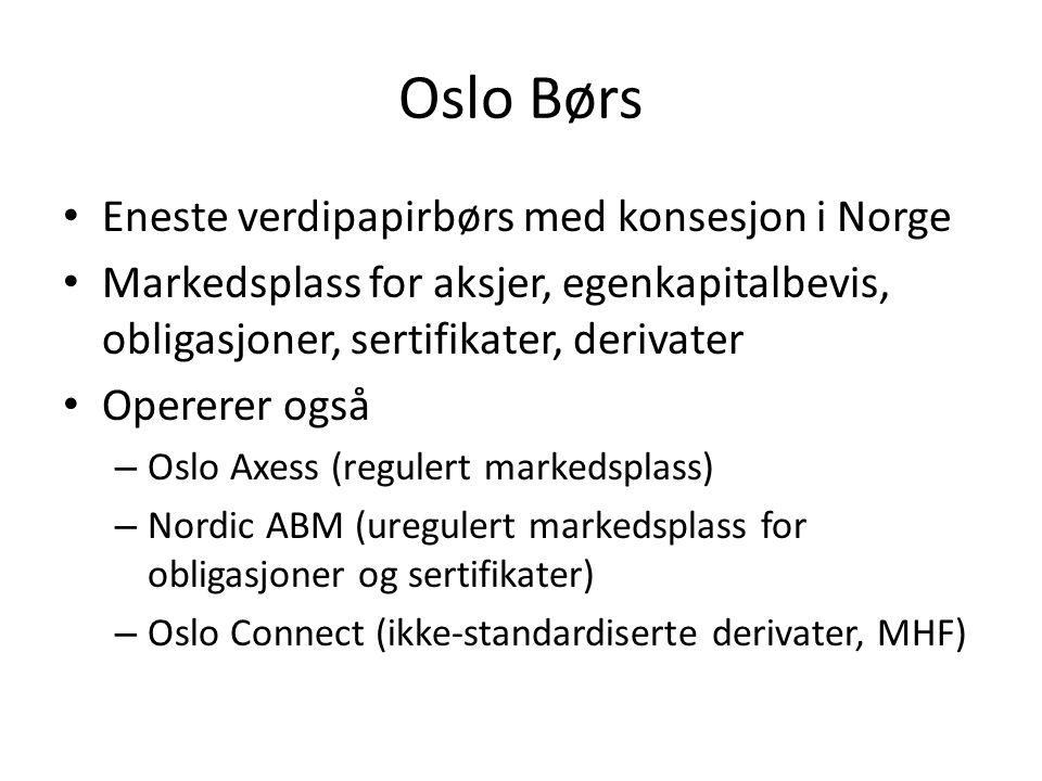 Oslo Børs Eneste verdipapirbørs med konsesjon i Norge Markedsplass for aksjer, egenkapitalbevis, obligasjoner, sertifikater, derivater Opererer også –
