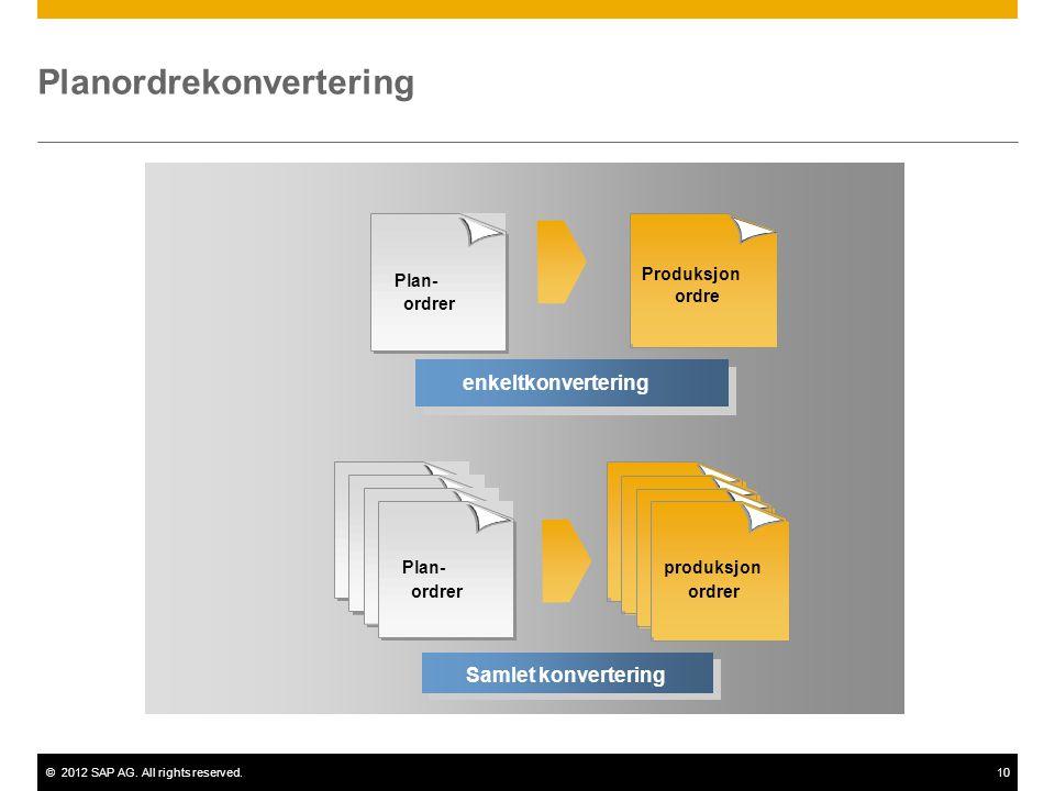 ©2012 SAP AG. All rights reserved.10 Enkeltkonvertering enkeltkonvertering Plan- ordrer produksjon ordrer Samlet konvertering Planordrekonvertering Pr