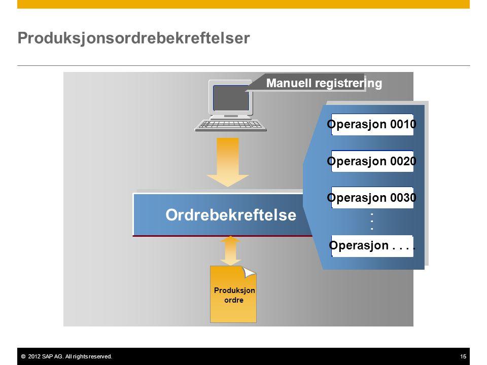 ©2012 SAP AG. All rights reserved.15 Ordrebekreftelse...... Manuell registrering Produksjonsordrebekreftelser Produksjon ordre Operasjon 0010 Operasjo