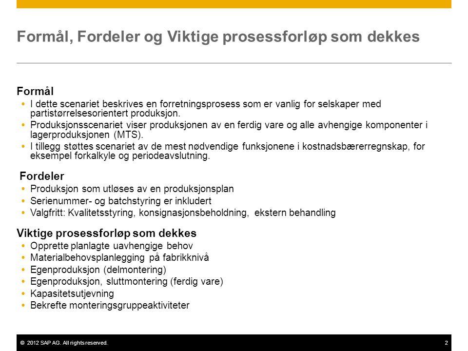 ©2012 SAP AG. All rights reserved.2 Formål, Fordeler og Viktige prosessforløp som dekkes Formål  I dette scenariet beskrives en forretningsprosess so
