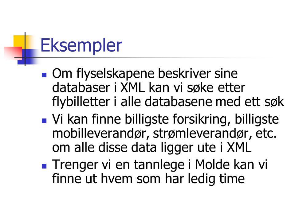 Eksempler Om flyselskapene beskriver sine databaser i XML kan vi søke etter flybilletter i alle databasene med ett søk Vi kan finne billigste forsikri
