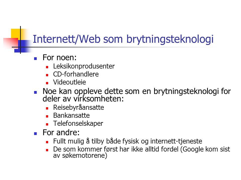 Internett/Web som brytningsteknologi For noen: Leksikonprodusenter CD-forhandlere Videoutleie Noe kan oppleve dette som en brytningsteknologi for dele
