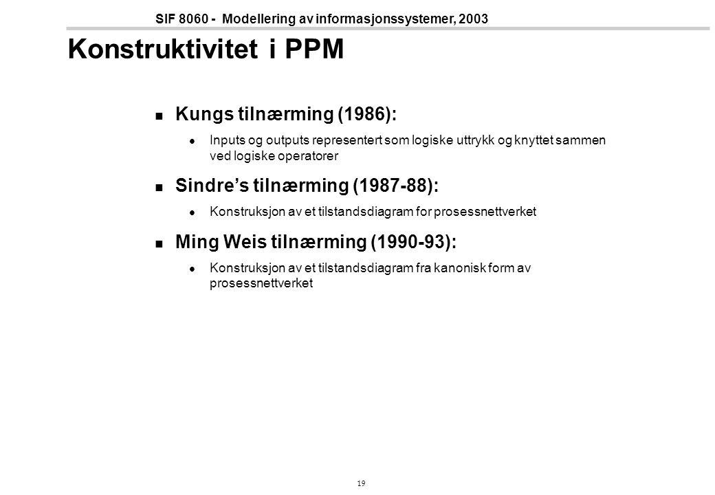 19 SIF 8060 - Modellering av informasjonssystemer, 2003 Konstruktivitet i PPM Kungs tilnærming (1986): Inputs og outputs representert som logiske uttrykk og knyttet sammen ved logiske operatorer Sindre's tilnærming (1987-88): Konstruksjon av et tilstandsdiagram for prosessnettverket Ming Weis tilnærming (1990-93): Konstruksjon av et tilstandsdiagram fra kanonisk form av prosessnettverket