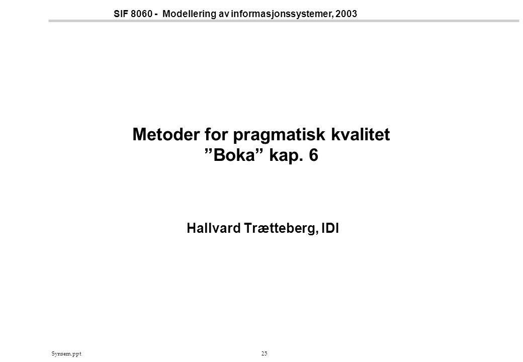 Synsem.ppt25 SIF 8060 - Modellering av informasjonssystemer, 2003 Metoder for pragmatisk kvalitet Boka kap.