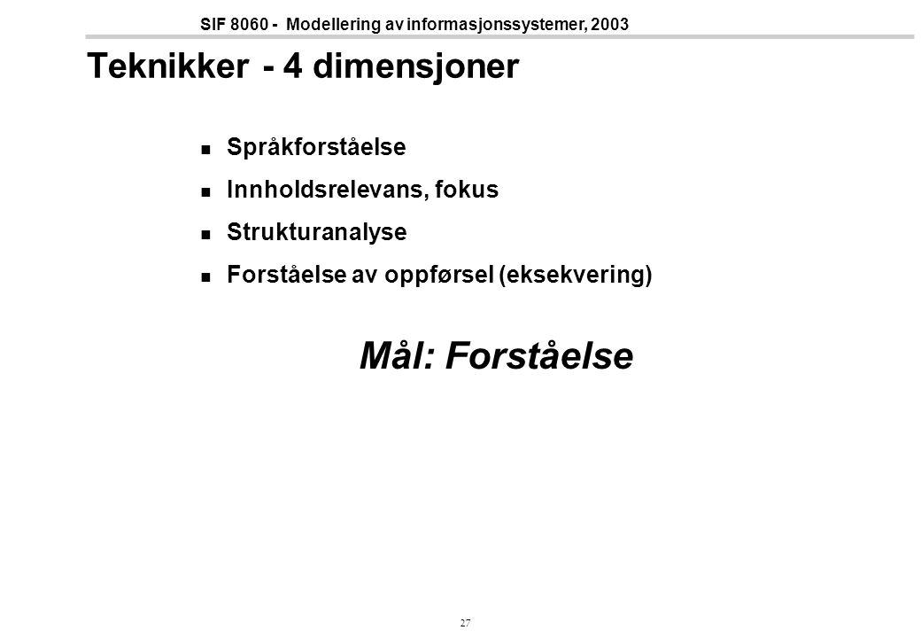 27 SIF 8060 - Modellering av informasjonssystemer, 2003 Teknikker - 4 dimensjoner Språkforståelse Innholdsrelevans, fokus Strukturanalyse Forståelse av oppførsel (eksekvering) Mål: Forståelse
