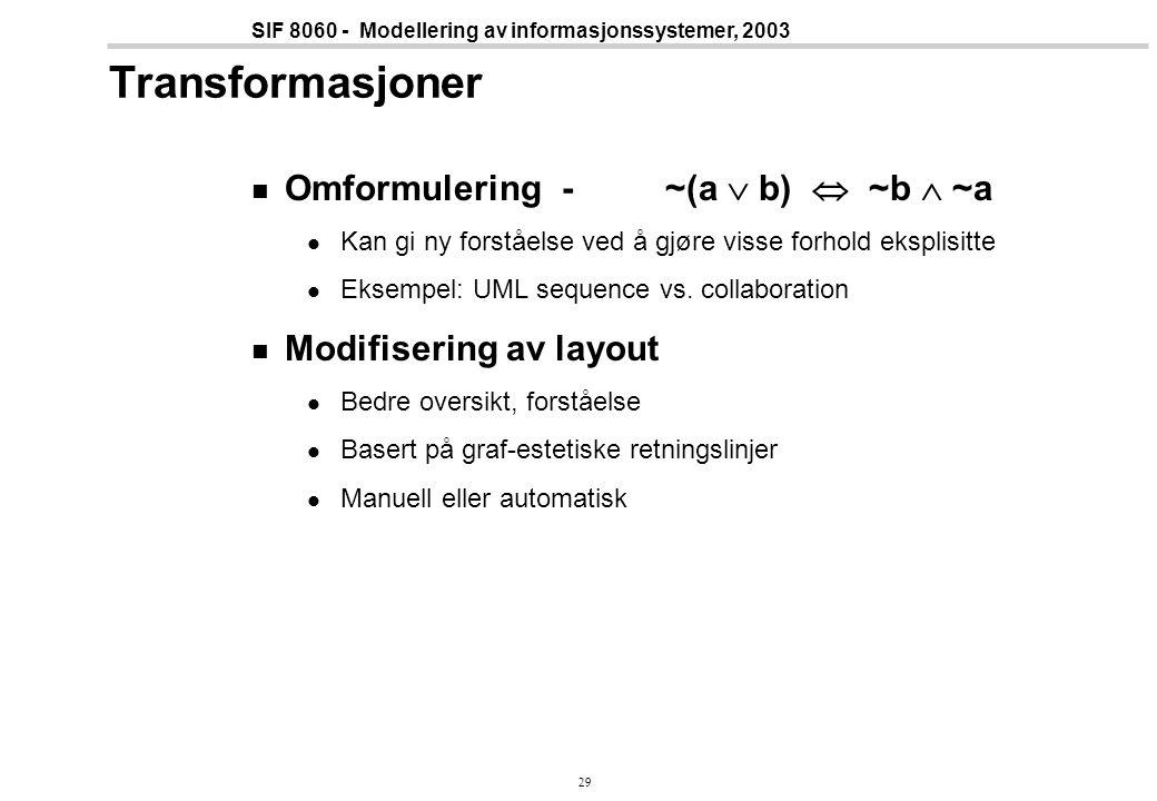 29 SIF 8060 - Modellering av informasjonssystemer, 2003 Transformasjoner Omformulering - ~(a  b)  ~b  ~a Kan gi ny forståelse ved å gjøre visse forhold eksplisitte Eksempel: UML sequence vs.
