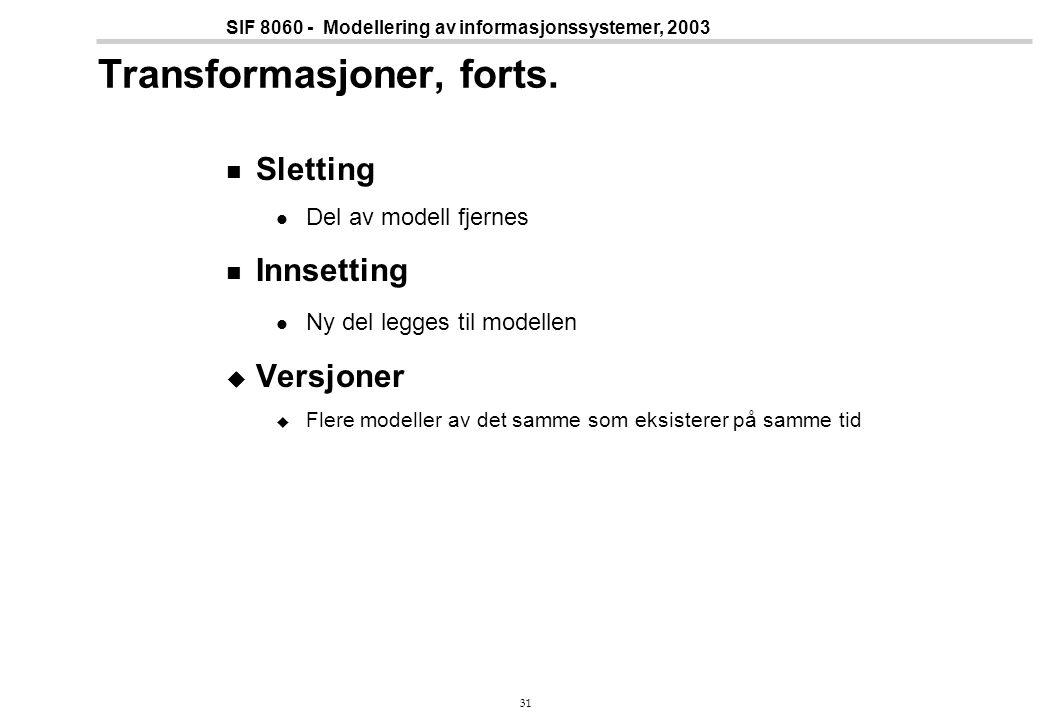 31 SIF 8060 - Modellering av informasjonssystemer, 2003 Transformasjoner, forts.