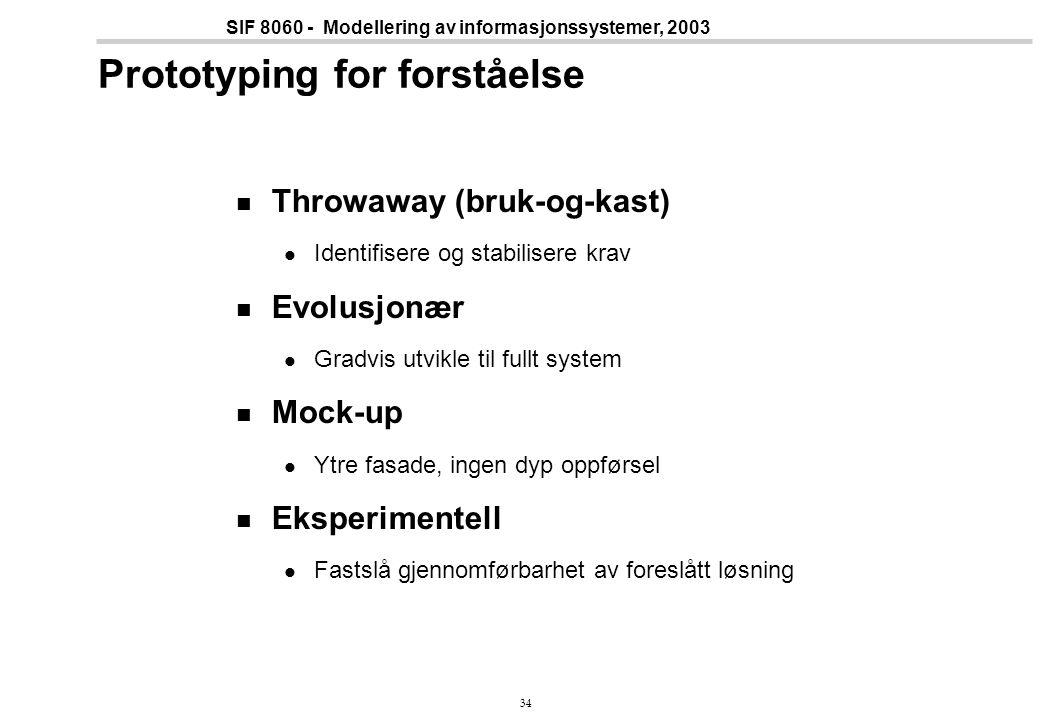 34 SIF 8060 - Modellering av informasjonssystemer, 2003 Prototyping for forståelse Throwaway (bruk-og-kast) Identifisere og stabilisere krav Evolusjonær Gradvis utvikle til fullt system Mock-up Ytre fasade, ingen dyp oppførsel Eksperimentell Fastslå gjennomførbarhet av foreslått løsning