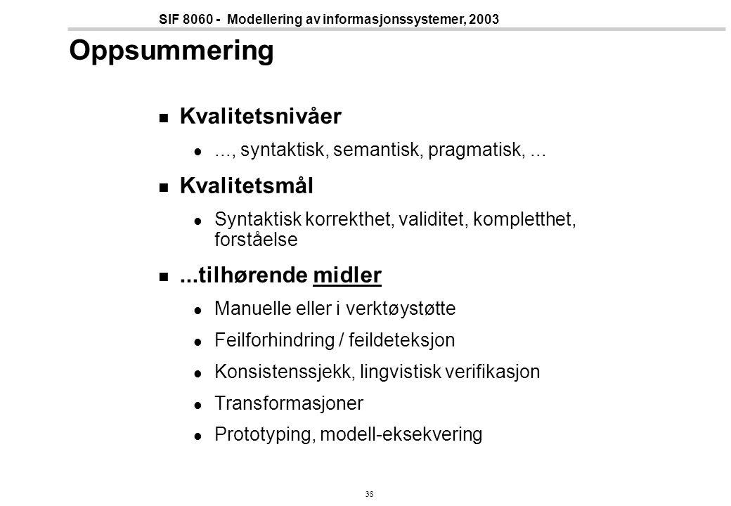 38 SIF 8060 - Modellering av informasjonssystemer, 2003 Oppsummering Kvalitetsnivåer..., syntaktisk, semantisk, pragmatisk,...