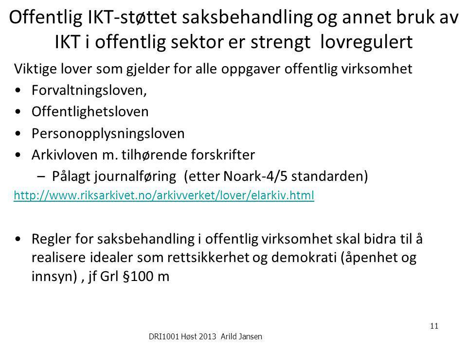 DRI1001 Høst 2013 Arild Jansen 11 Offentlig IKT-støttet saksbehandling og annet bruk av IKT i offentlig sektor er strengt lovregulert Viktige lover so