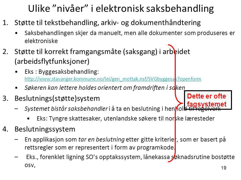 """19 Ulike """"nivåer"""" i elektronisk saksbehandling 1.Støtte til tekstbehandling, arkiv- og dokumenthåndtering Saksbehandlingen skjer da manuelt, men alle"""