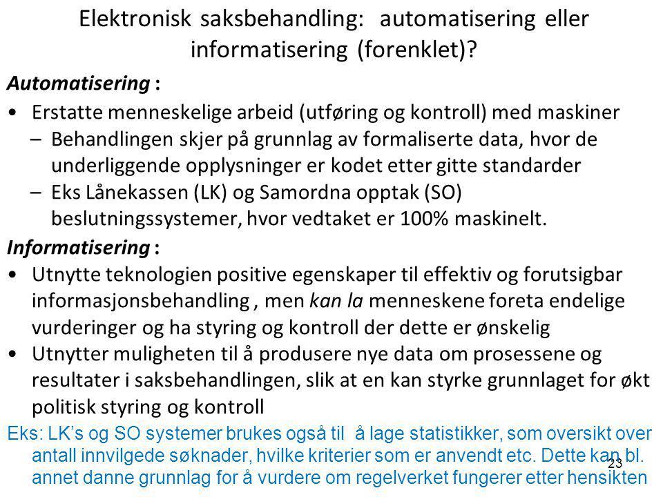 23 Elektronisk saksbehandling: automatisering eller informatisering (forenklet)? Automatisering : Erstatte menneskelige arbeid (utføring og kontroll)