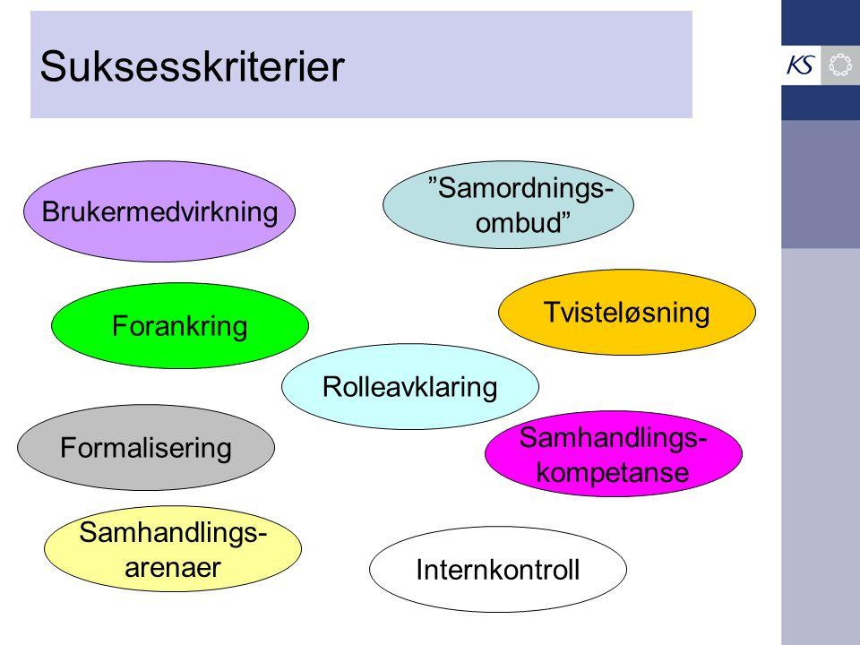 Suksesskriterier Samordnings- ombud Brukermedvirkning Forankring Tvisteløsning Rolleavklaring Formalisering Samhandlings- kompetanse Samhandlings- arenaer Internkontroll