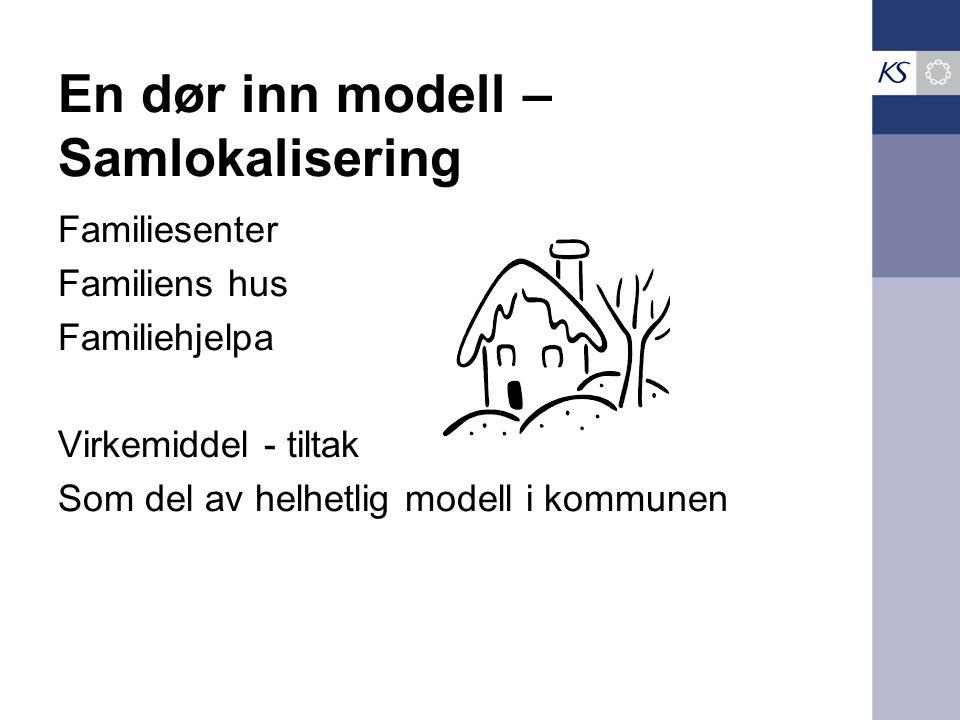 En dør inn modell – Samlokalisering Familiesenter Familiens hus Familiehjelpa Virkemiddel - tiltak Som del av helhetlig modell i kommunen