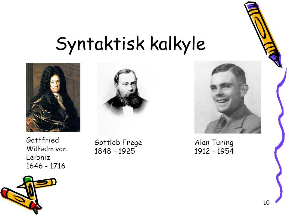 10 Syntaktisk kalkyle Gottfried Wilhelm von Leibniz 1646 - 1716 Gottlob Frege 1848 - 1925 Alan Turing 1912 - 1954