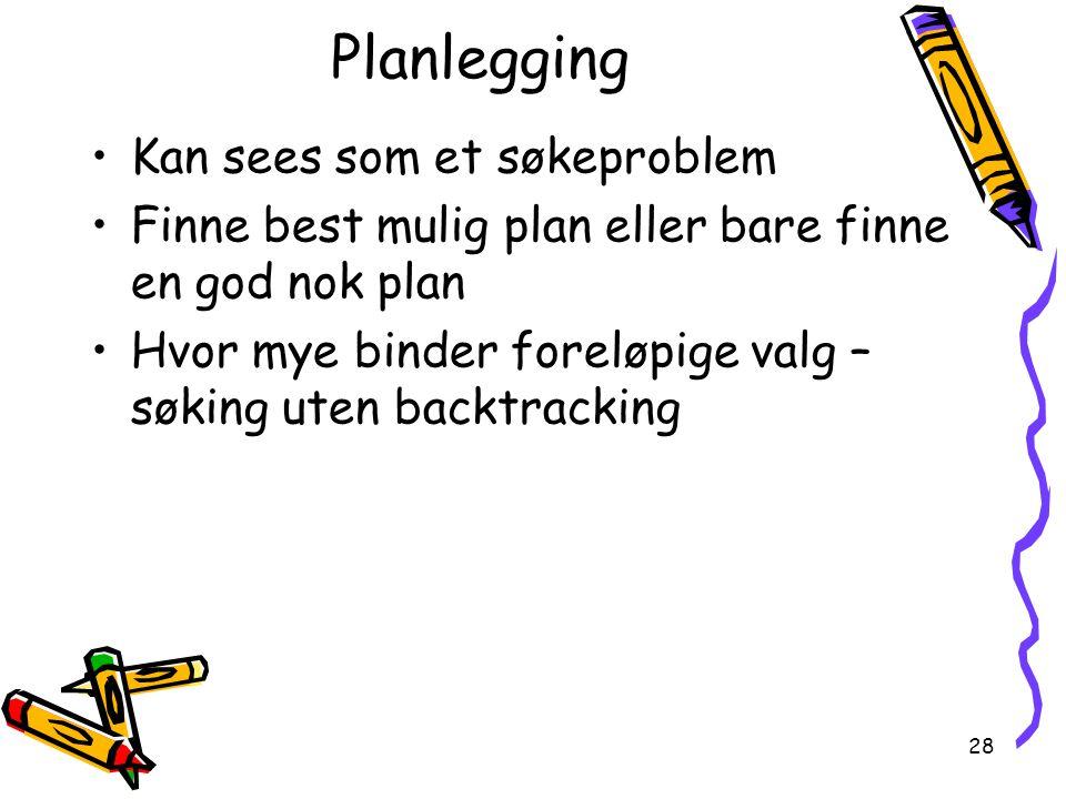 28 Planlegging Kan sees som et søkeproblem Finne best mulig plan eller bare finne en god nok plan Hvor mye binder foreløpige valg – søking uten backtracking