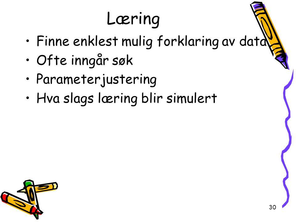 30 Læring Finne enklest mulig forklaring av data Ofte inngår søk Parameterjustering Hva slags læring blir simulert